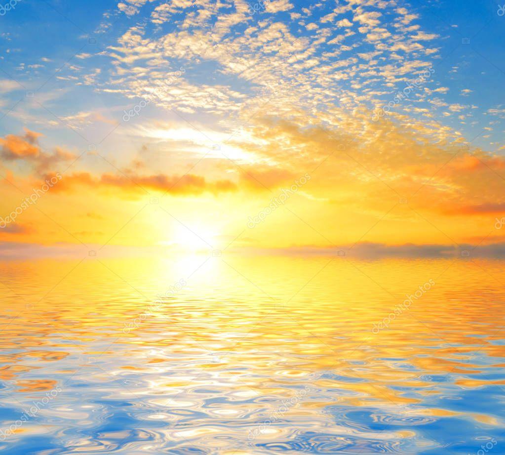 Seascape of summer sunrise.