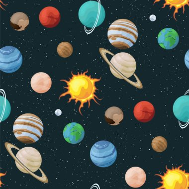 Solar system vector seamless pattern of planets in space universe texture