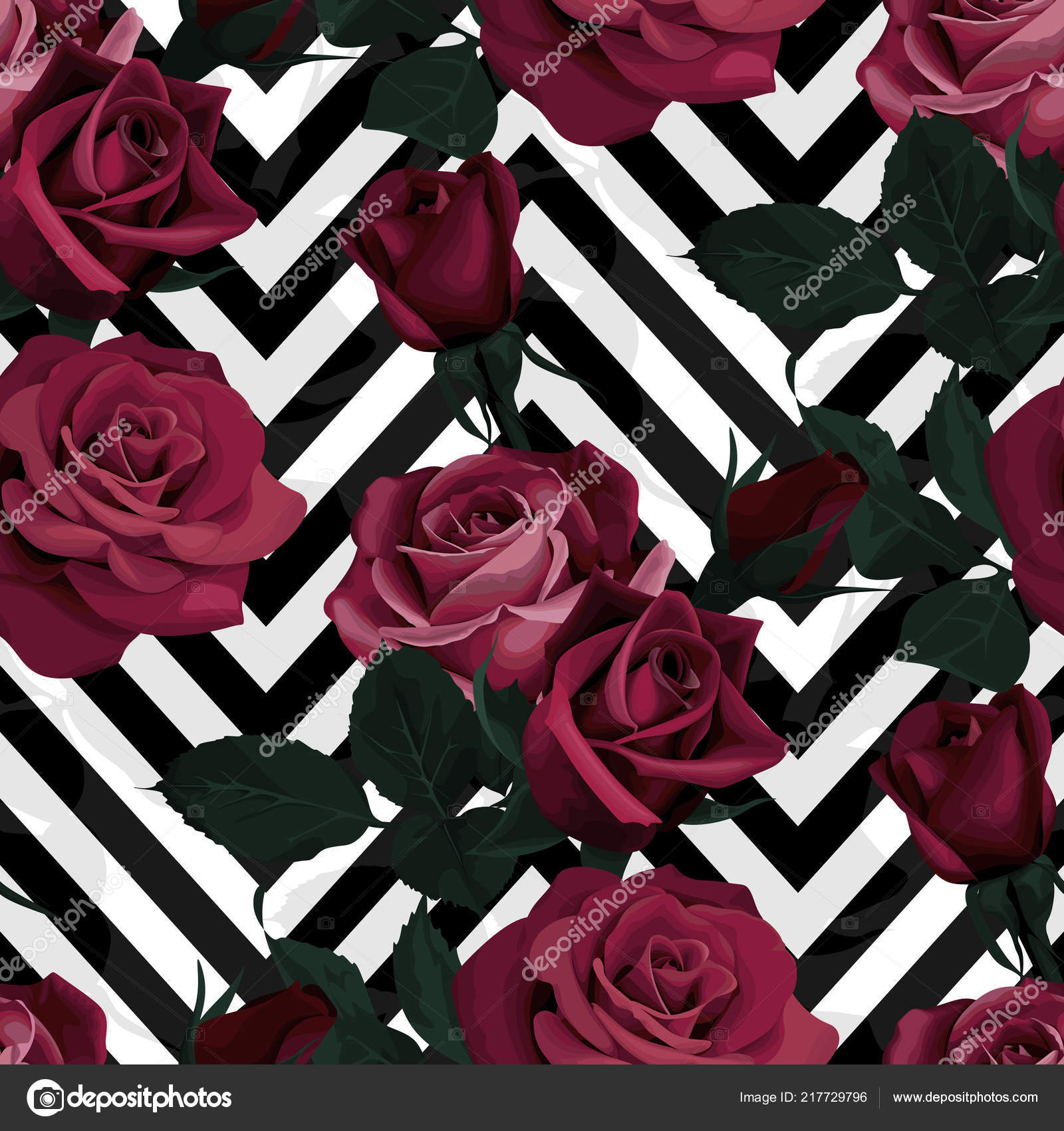 Deep Red Roses Vector Seamless Pattern Dark Flowers On Black And