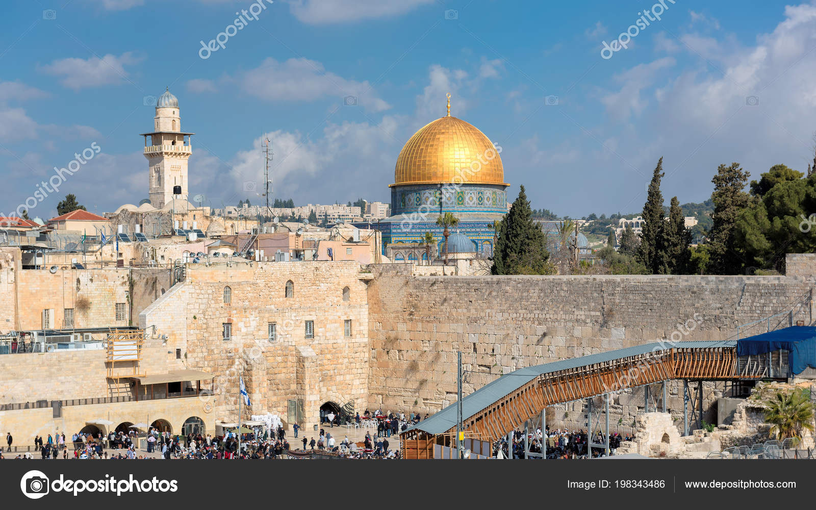View Temple Mount Old City Jerusalem Including Western Wall