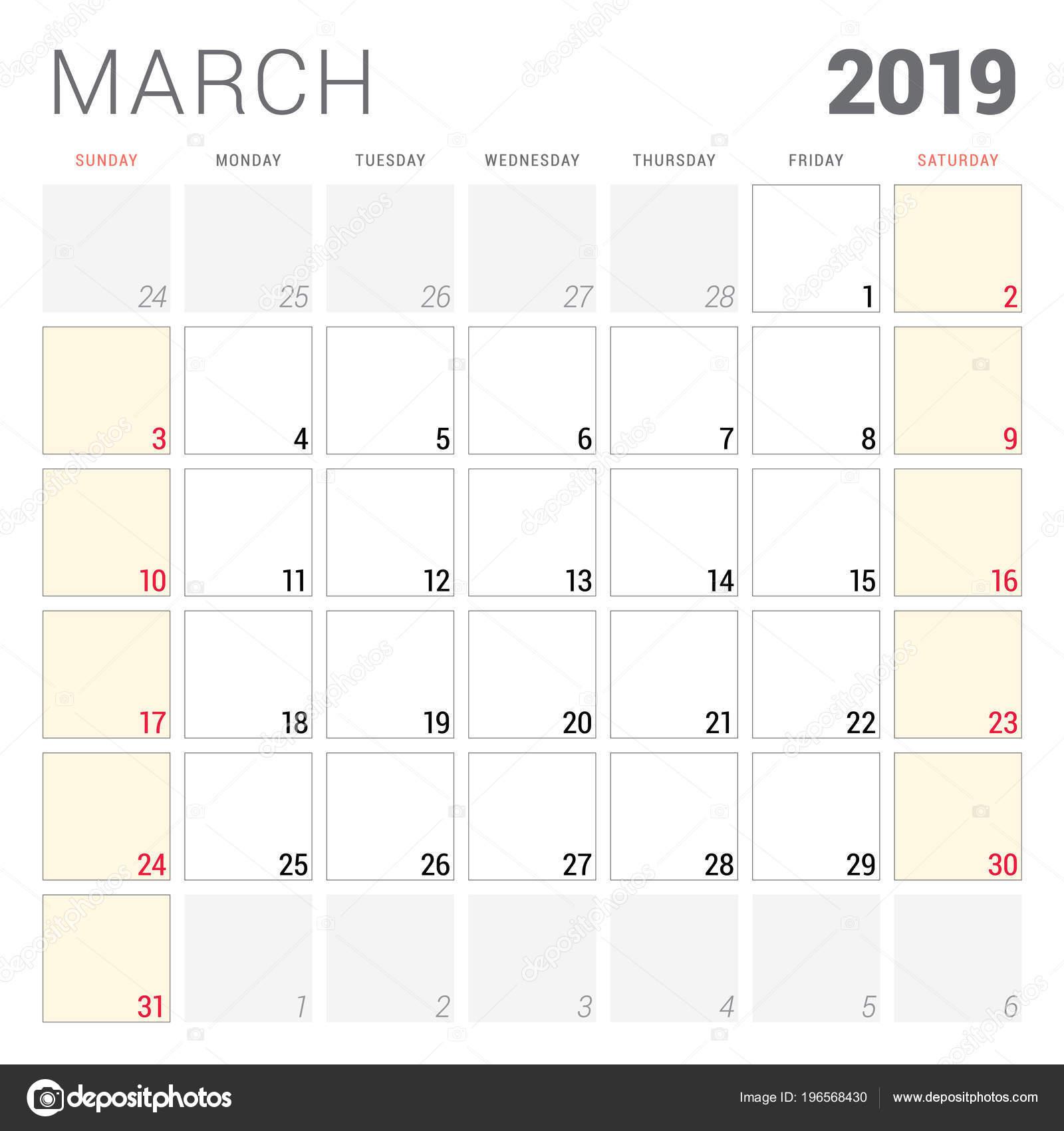 4b0a75f495a5 Planner kalendarz do marca 2019. Tydzień rozpoczyna się w niedzielę.  Szablon projektu do druku wektor artykuły papiernicze– ilustracja stockowa