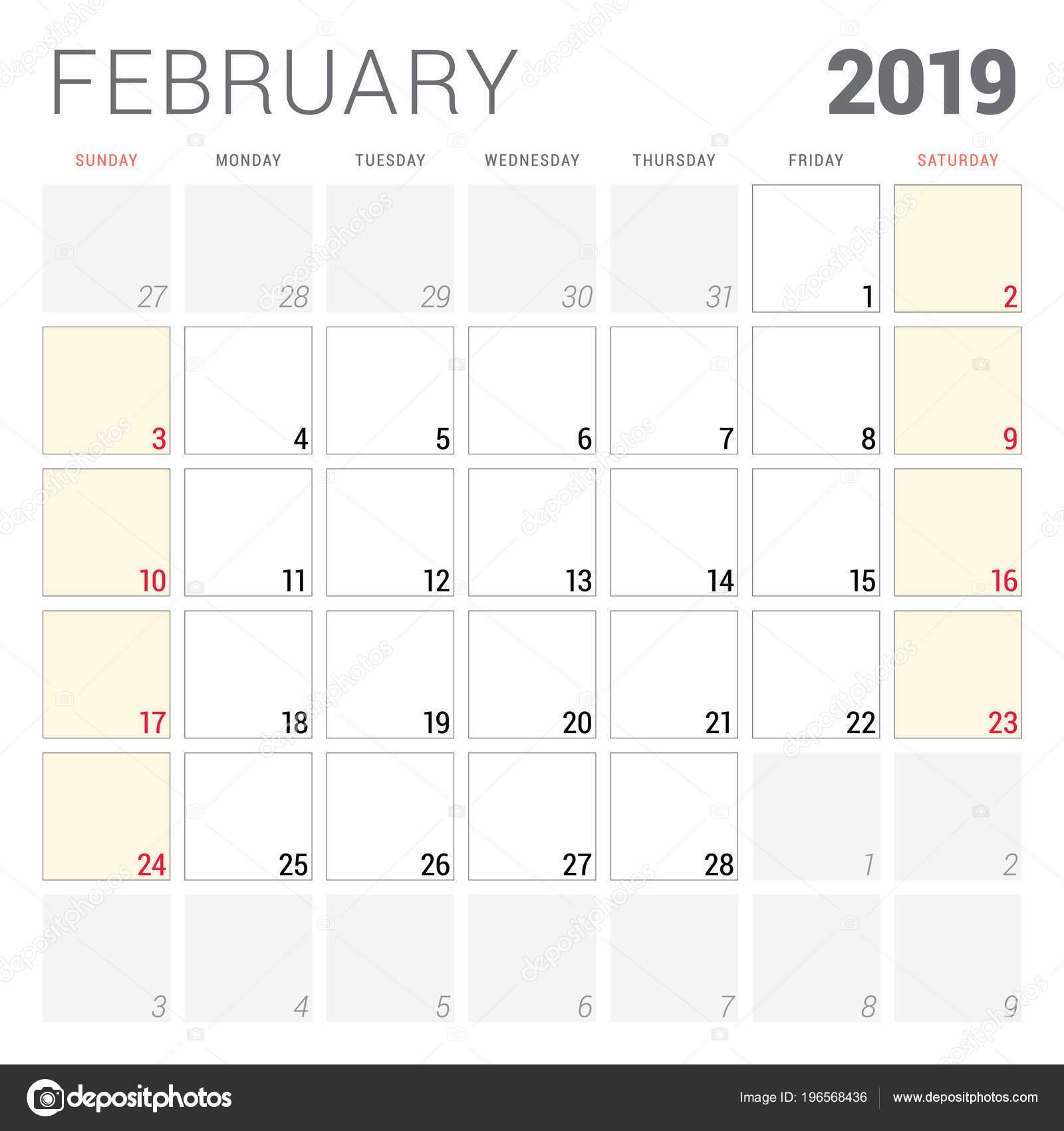 2019 februári naptár Naptár Tervező 2019 Február Hét Kezdőnapja Hétfő Nyomtatható  2019 februári naptár