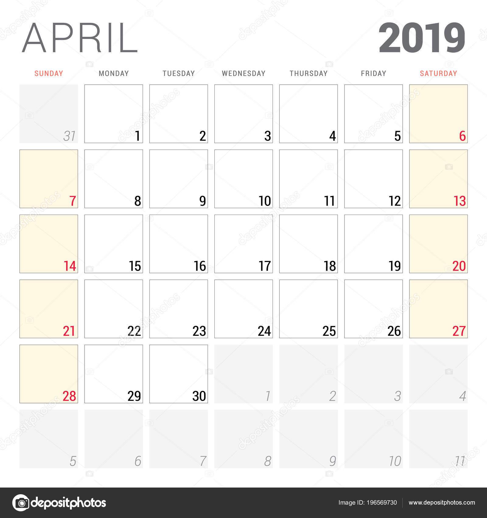 Calendario Imprimir Abril 2019.Planificador Calendario Para Abril 2019 Semana Comienza Domingo