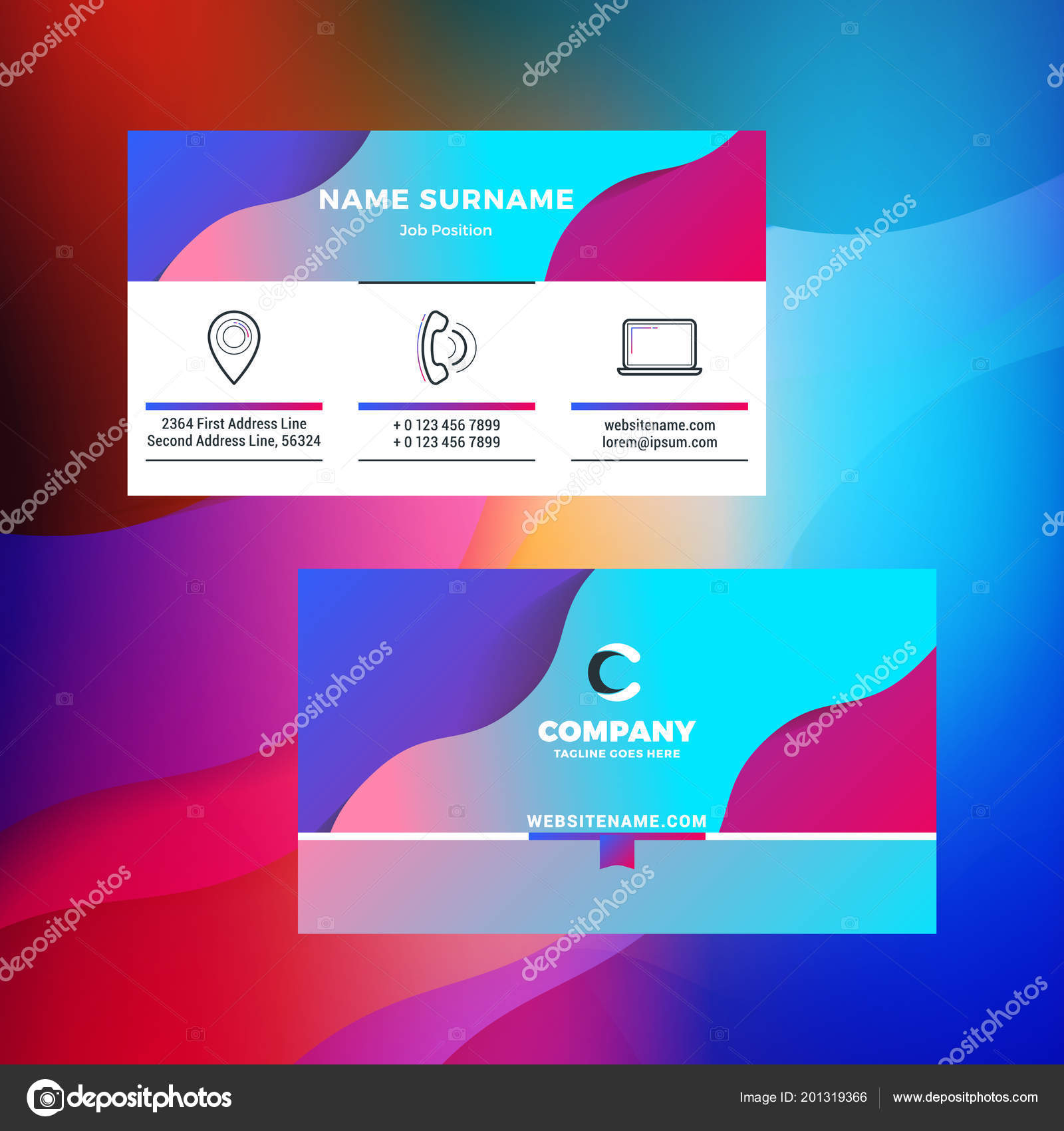 Double sided horizontal business card template abstract background double sided horizontal business card template abstract background vivid gradients stock vector reheart Images