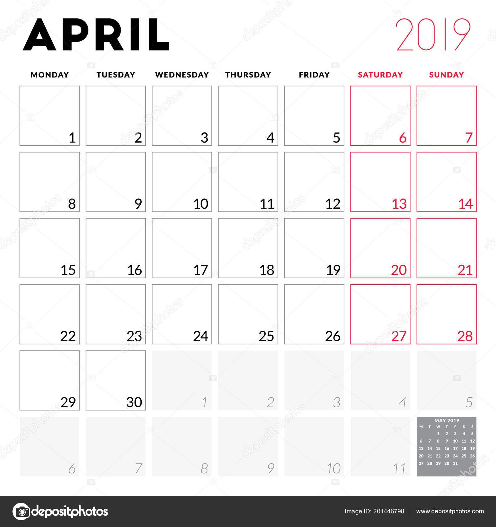 Calendario Imprimir Abril 2019.Calendario De Abril 2019 Planificador Calendario Para Abril 2019