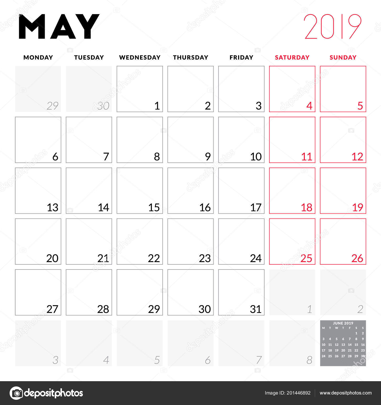 Calendar Planner May 2019 Week Starts Monday Printable Vector