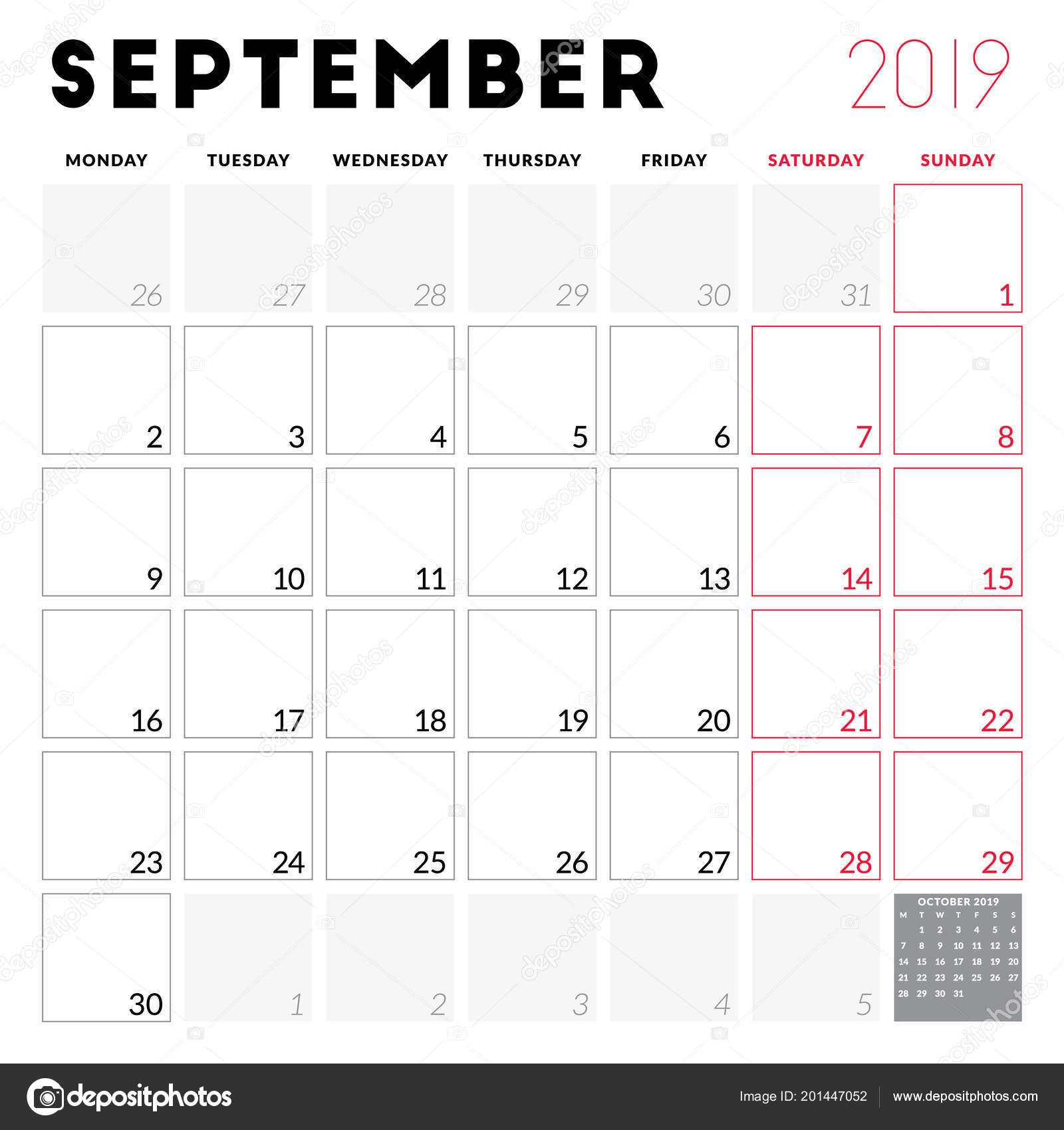 Calendar Planner September 2019 Week Starts Monday Printable
