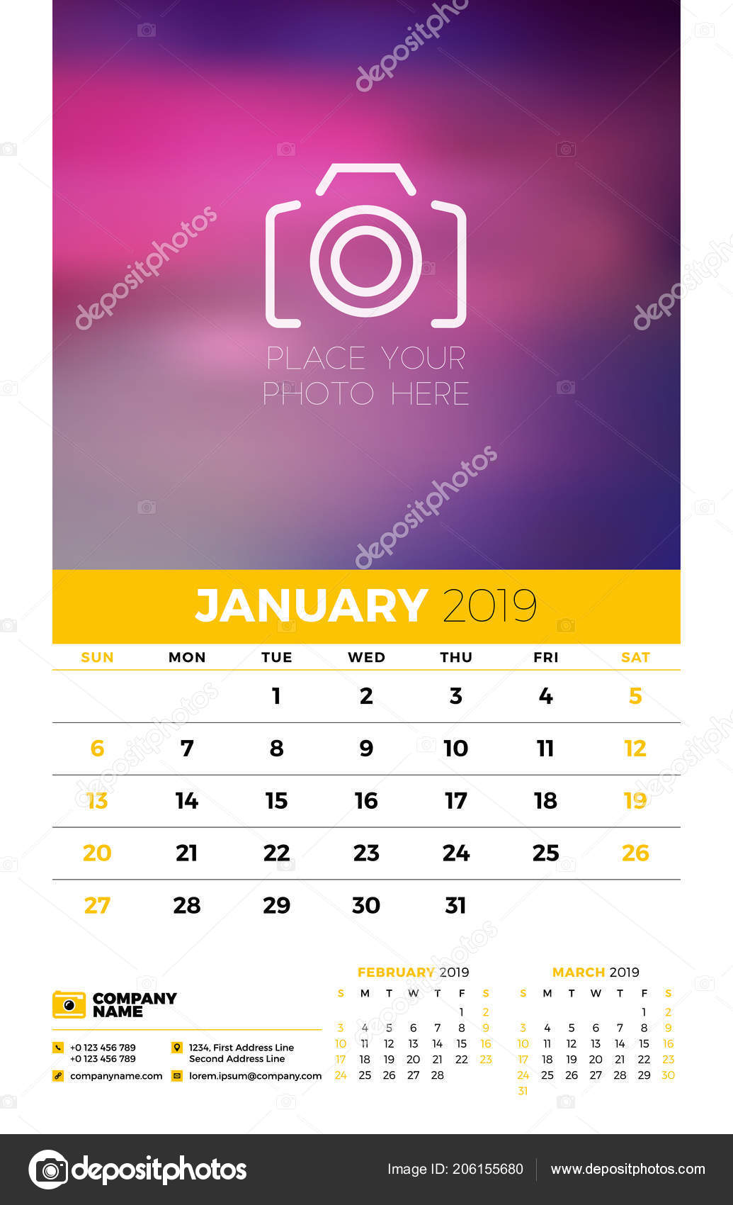 Wall Calendar Planner Template 2019 Year Months Page January
