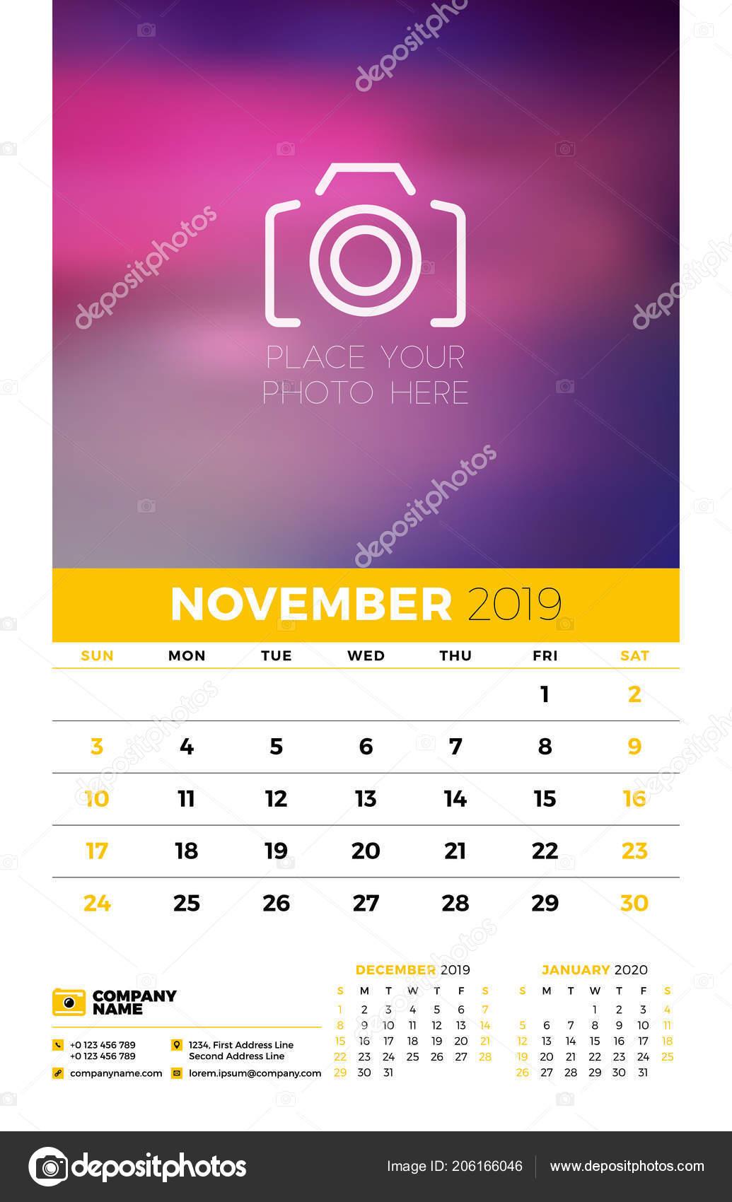 Calendario Novembre E Dicembre 2020.Modello Parete Calendario Planner Anno 2019 Mesi Nella