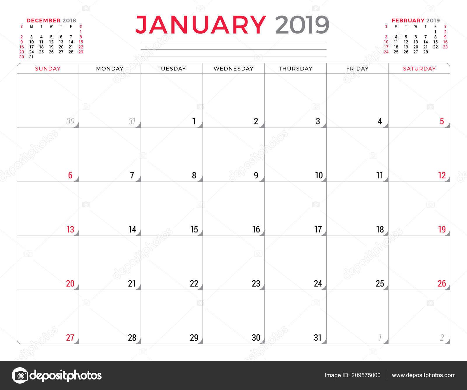 January 2019 Calendar Planner Stationery Design Template Vector