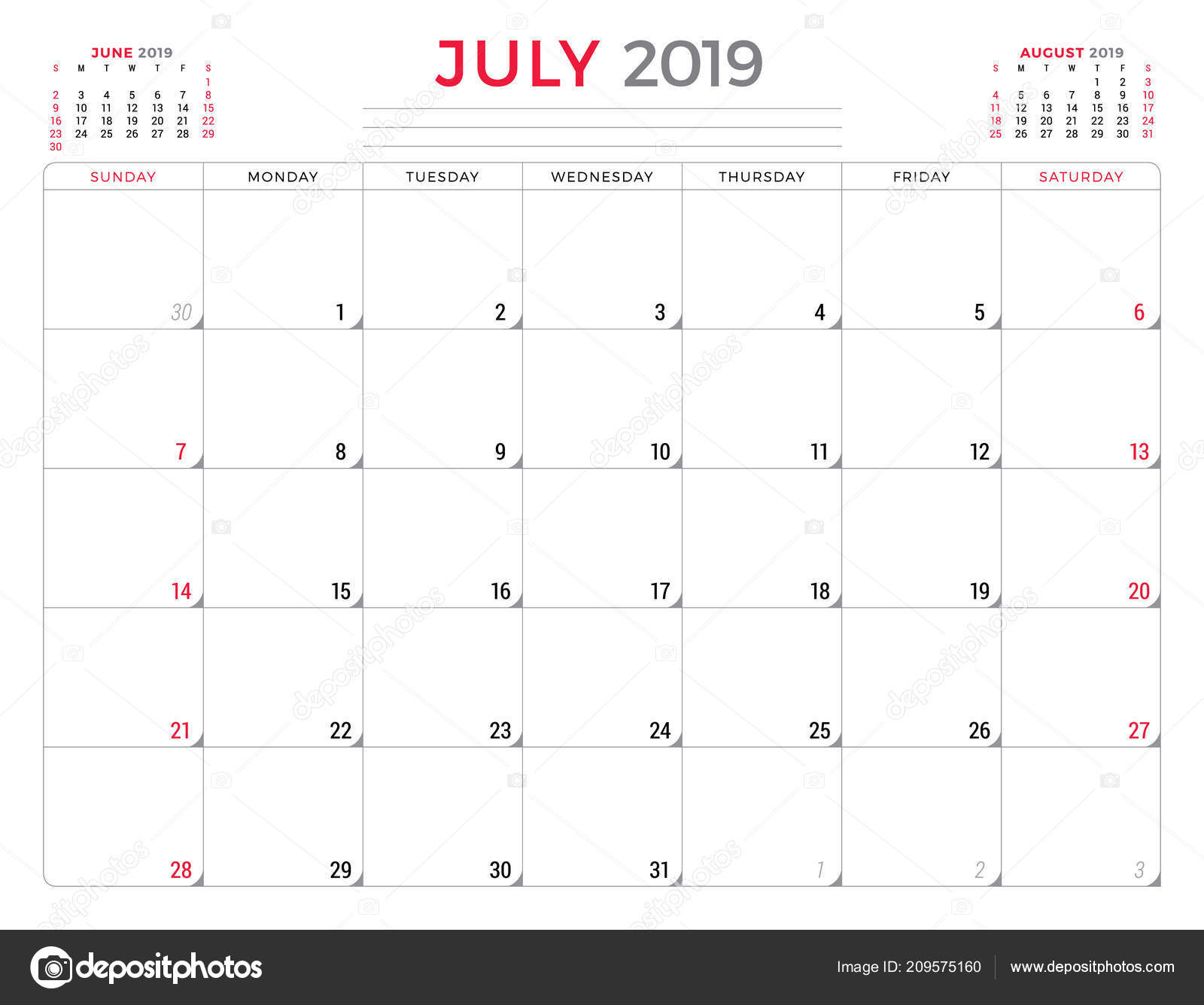 Calendario Julio 2019 Vector.July 2019 Calendar Planner Stationery Design Template Vector