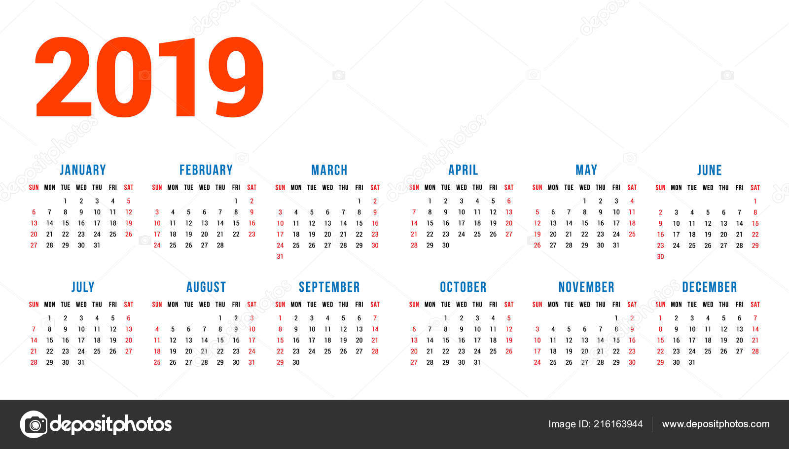 calendar 2019 year white background week starts sunday columns rows stock vector
