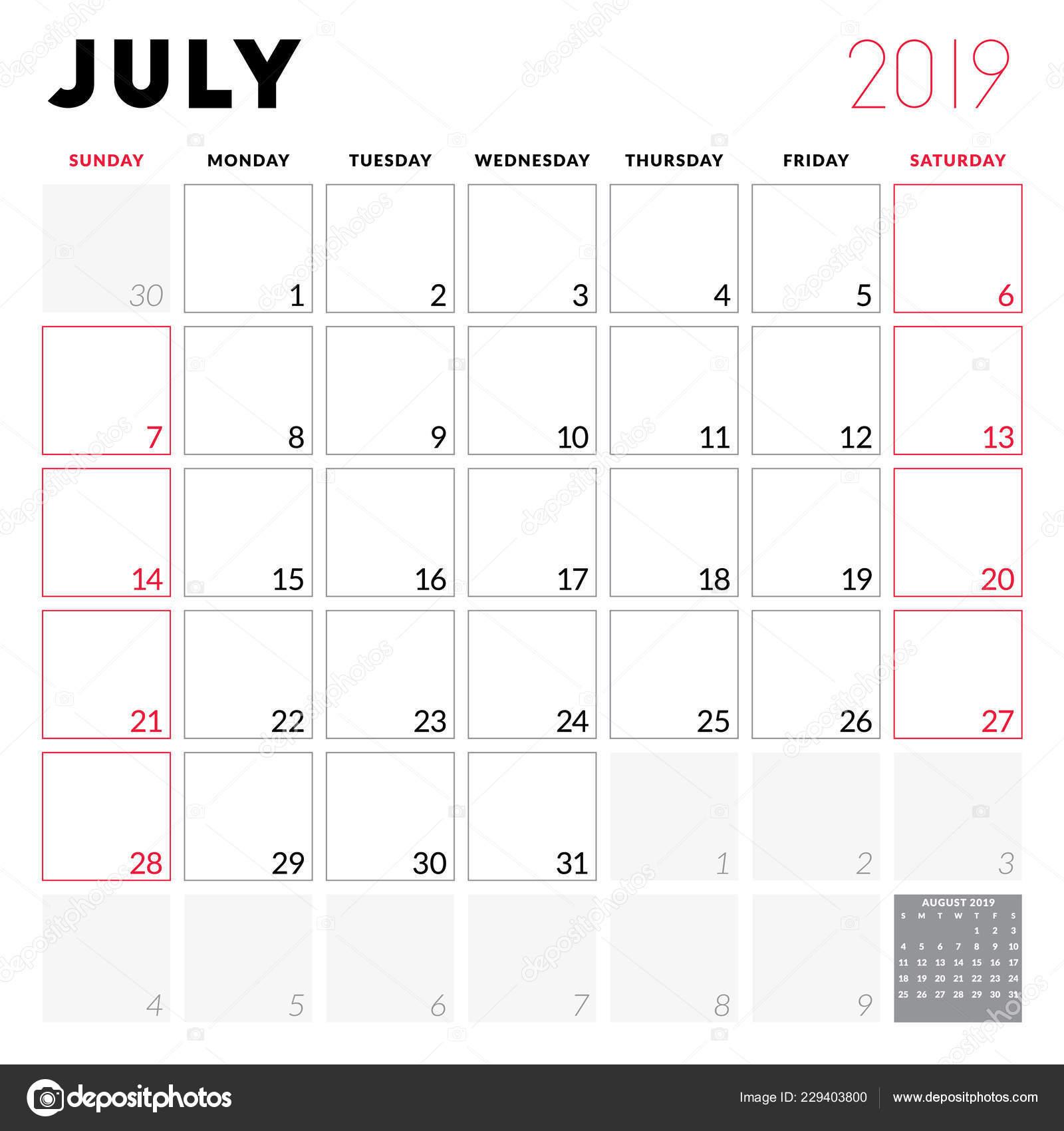 Calendario Julio 2019 Para Imprimir.Planificador Calendario Para Julio 2019 Semana Comienza