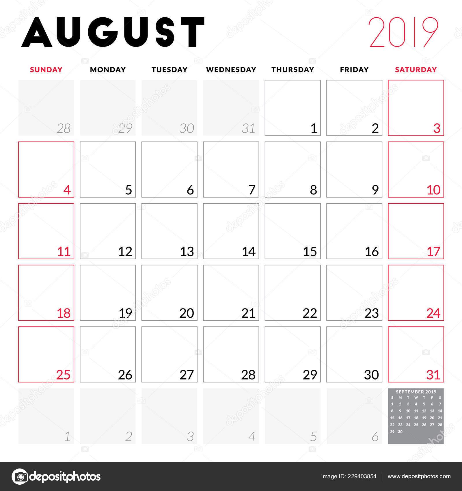 Calendario De Agosto 2019 Para Imprimir.Planificador Calendario Para Agosto 2019 Semana Comienza