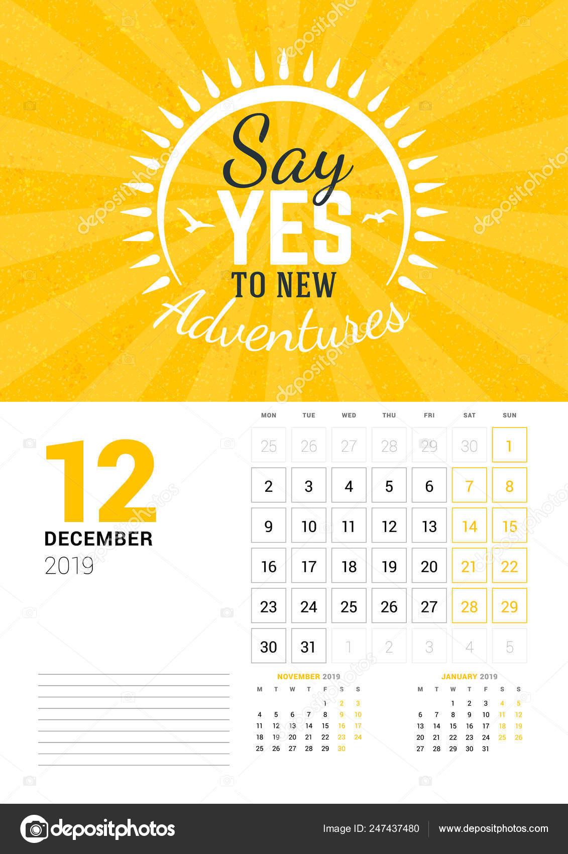 Plantilla De Calendario De Pared Para Diciembre De 2019