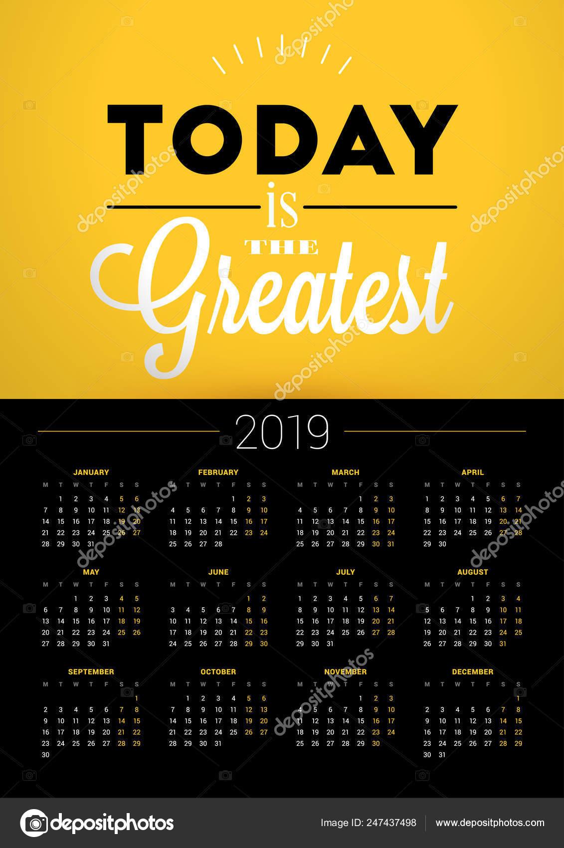 Plantilla De Calendario De Pared Para El Año 2019 Vector