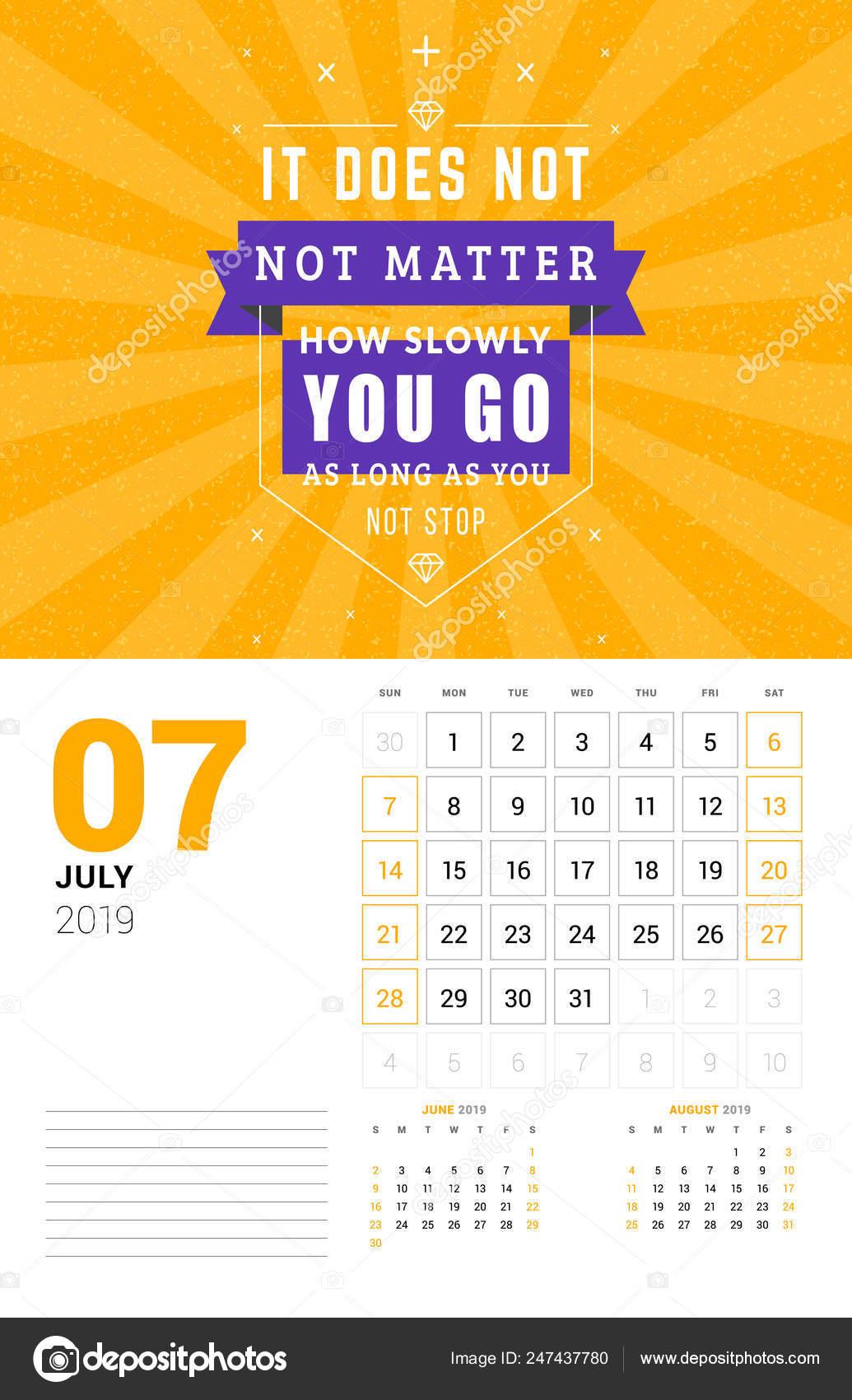 Plantilla De Calendario De Pared Para Julio De 2019 Vector