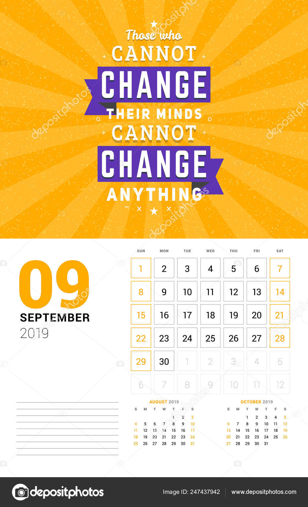 Plantilla De Calendario De Pared De Septiembre De 2019