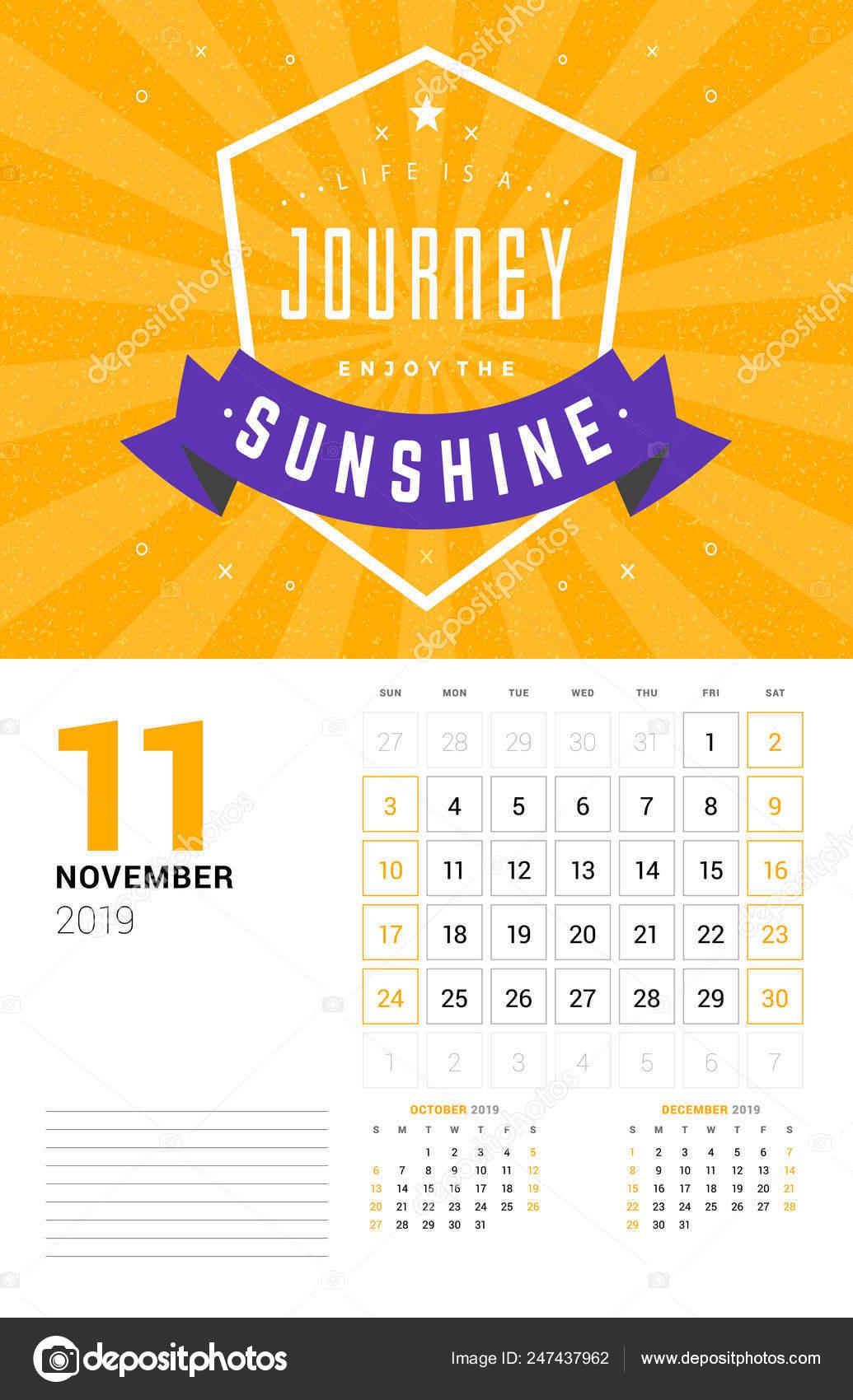 Plantilla De Calendario De Pared Para Noviembre De 2019