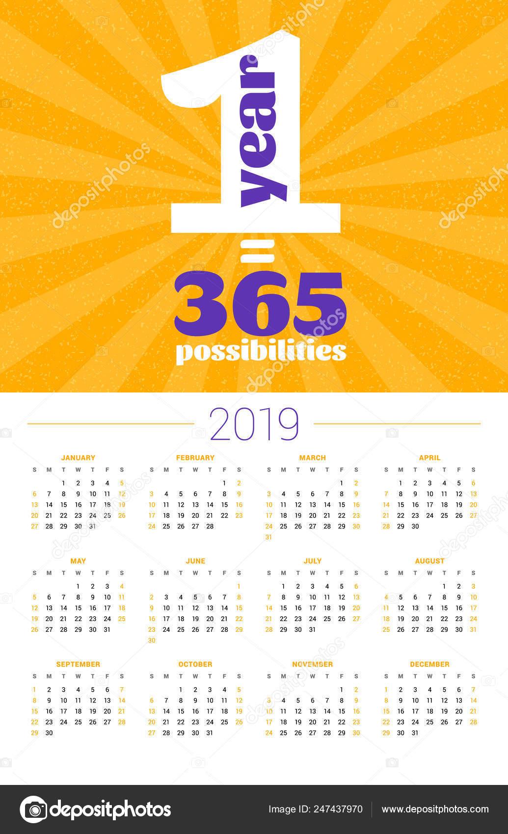 Cartel Del Calendario De Pared Para El Año 2019 Vector