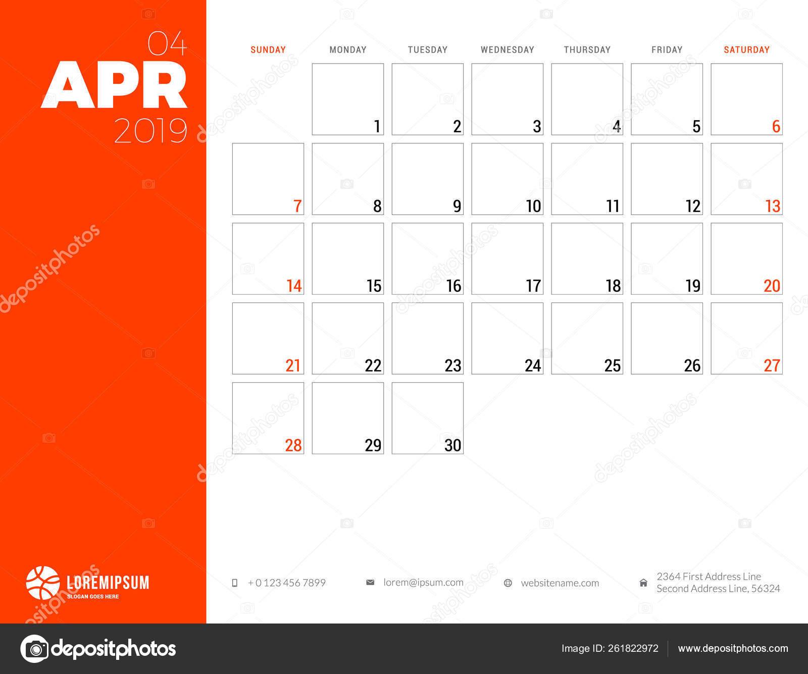 Planificador De Calendario Para Abril De 2019 La Semana Comienza