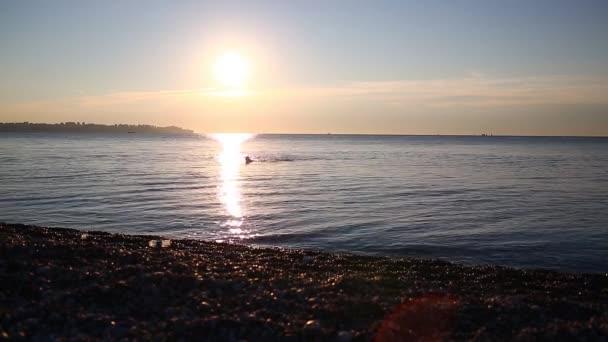 pláže na východ a muž swimer