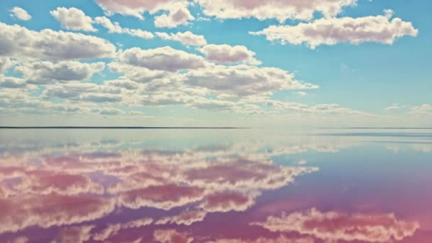 amazing colorful aerial landscape footage with pink salt lake and beautiful cloudy sky.