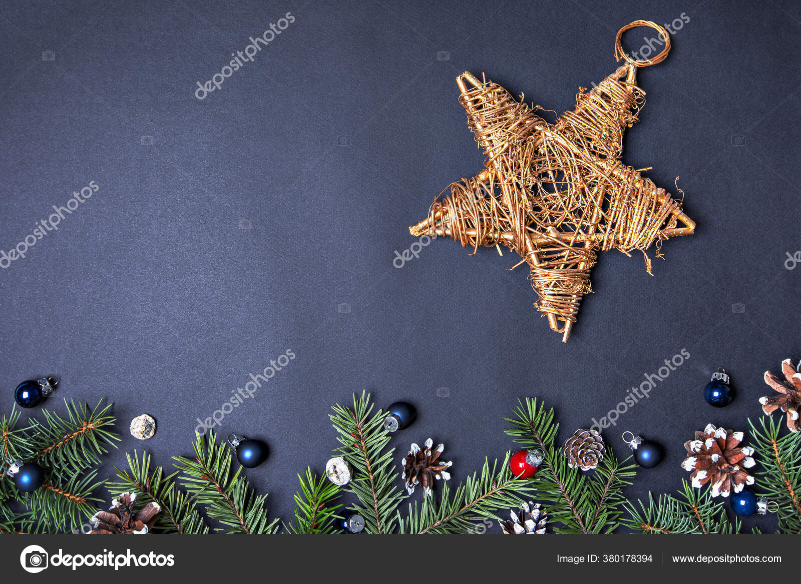 Christmas Concept Card Golden Star Tree Topper Background Dark Blue Stock Photo C Irinaermakova 380178394
