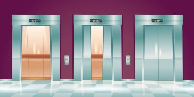 Cartoon lift doors, empty elevators in office hallway with closed, slightly ajar and open doorways. Lobby interior with passenger or cargo cabins, button panel and floor indicator vector illustration