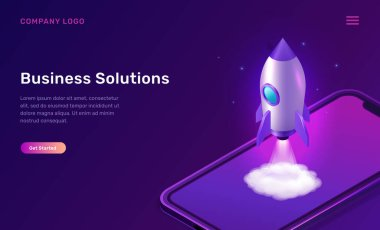 Business start up isometric concept vector illustration. Rocket taking off with fire and smoke cloud, mobile phone on ultraviolet background. Spaceship launching purple web page icon