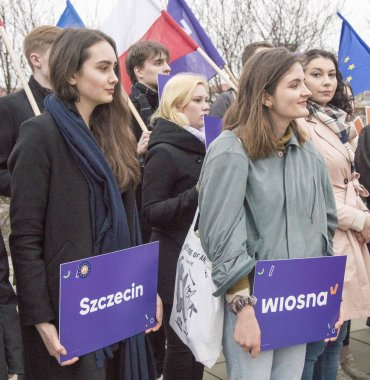 Szczecin, Poland - March 20, 2019: Voters of new polish political party Wiosna (Spring), during meeting with Robert Biedron, openly gay politician, founder and leader party Wiosna.