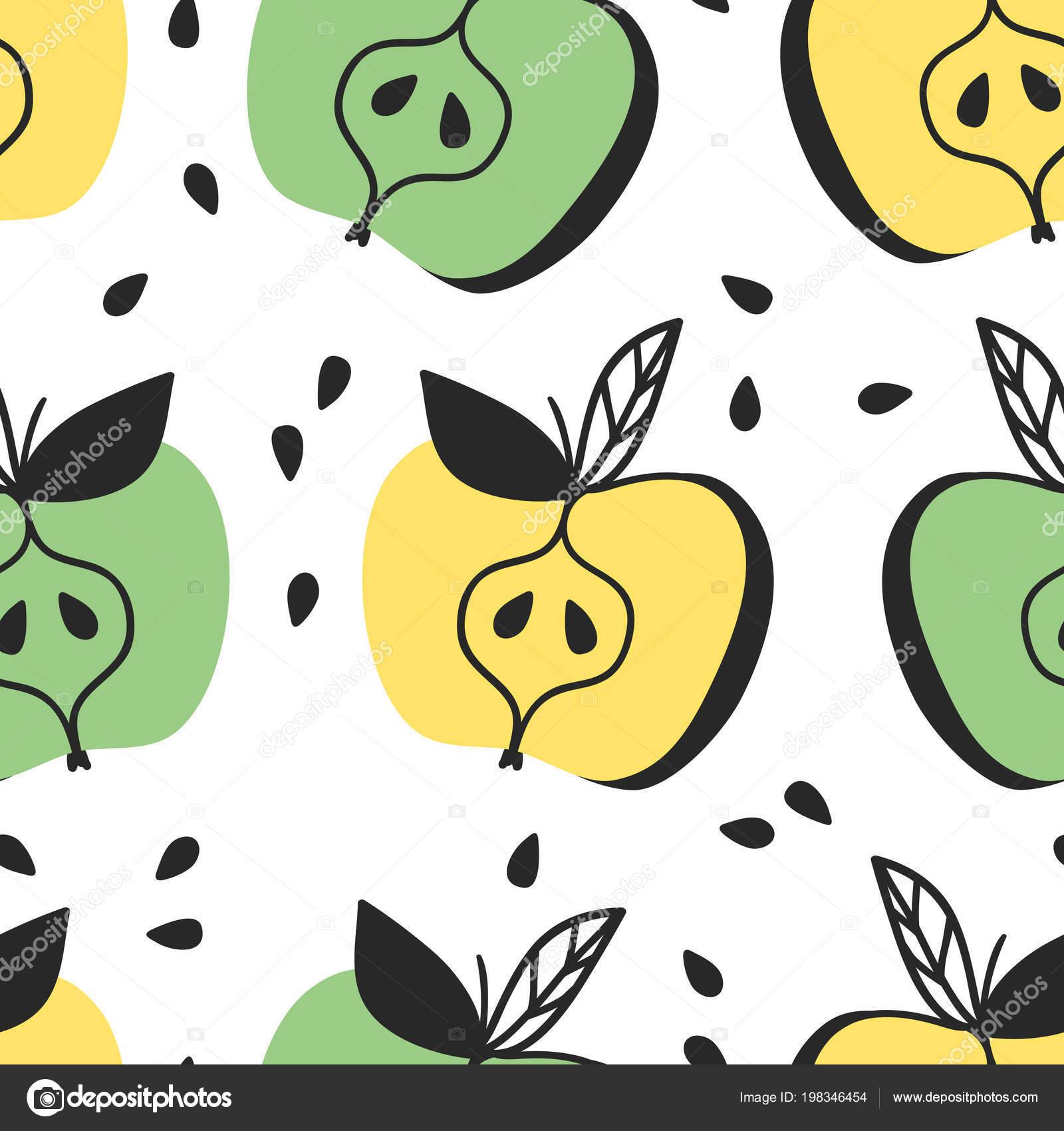 Rucne Tazene Bezesve Vzor S Ovocem Vektorove Umelecke Kresleni