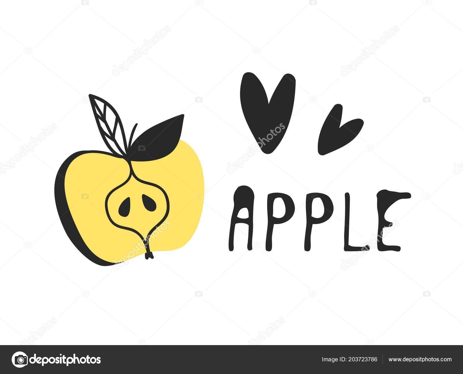 Rucne Kreslenou Sada Tropickeho Ovoce A Text Vektorove Umelecke