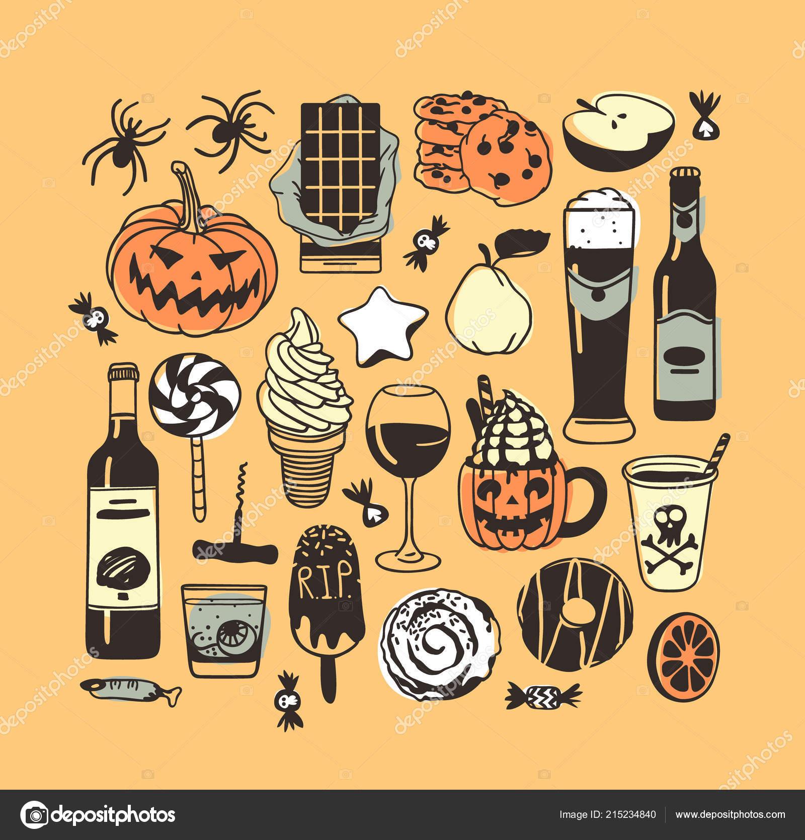 Rucne Kreslene Ilustrace Candy Cookie Dyne Zmrzlina Koktejl Tvurci