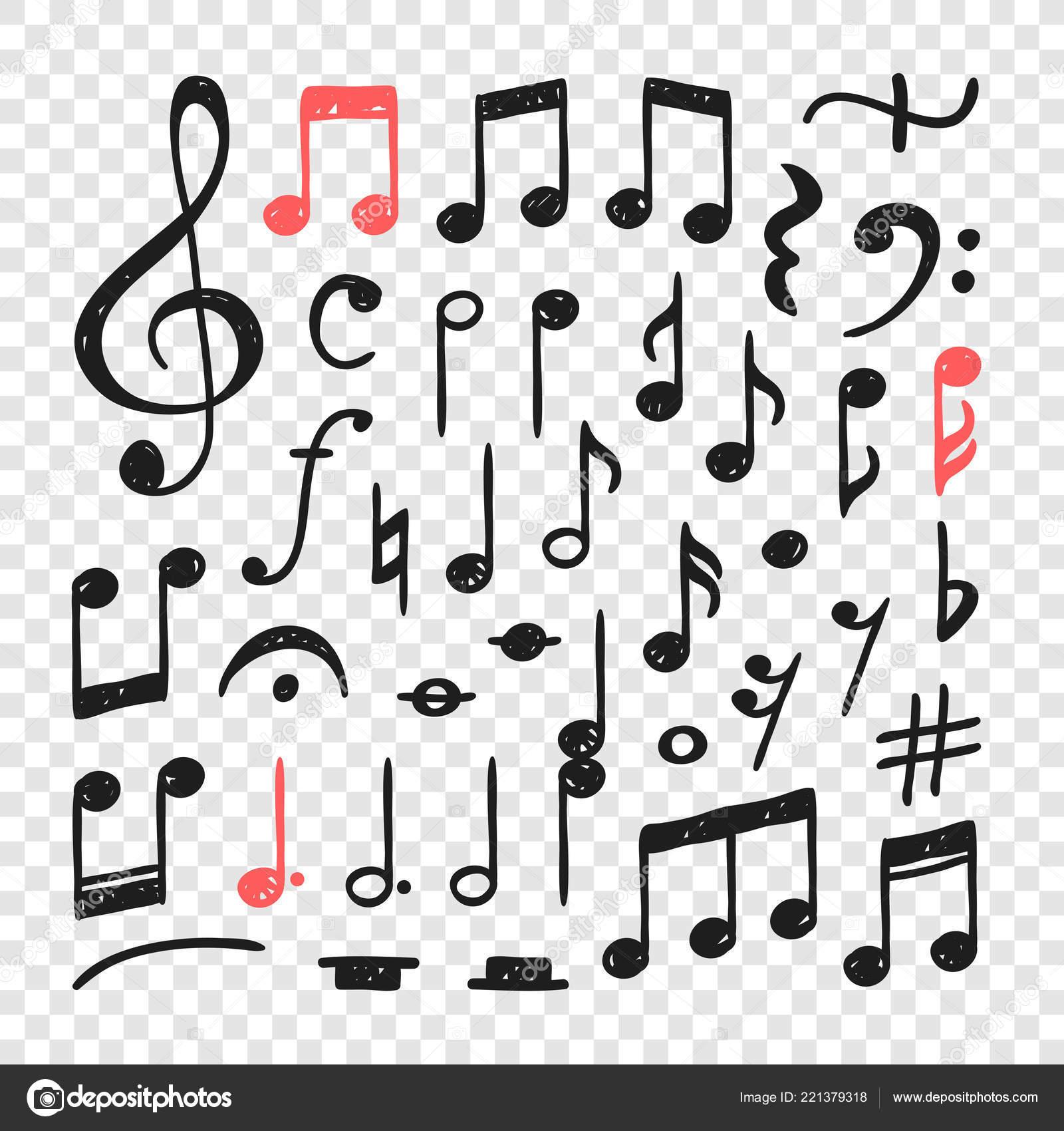 Hand Drawn Music Notes Illustration Doodle Set Symbols Creative Ink