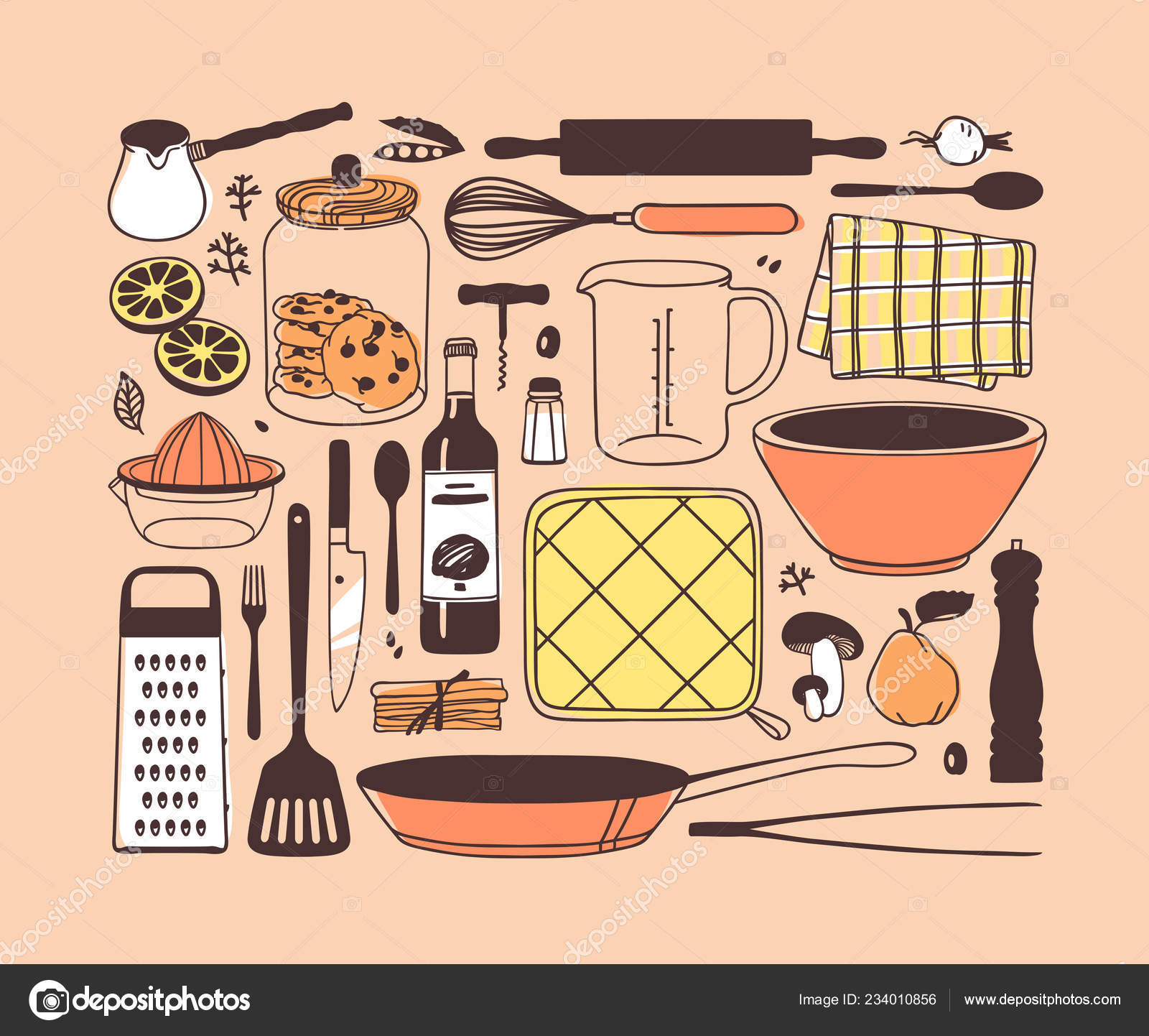 Hand Drawn Illustration Cooking Tools Dishes Food Creative Ink Art Vector Image By C Pomolchim Vector Stock 234010856