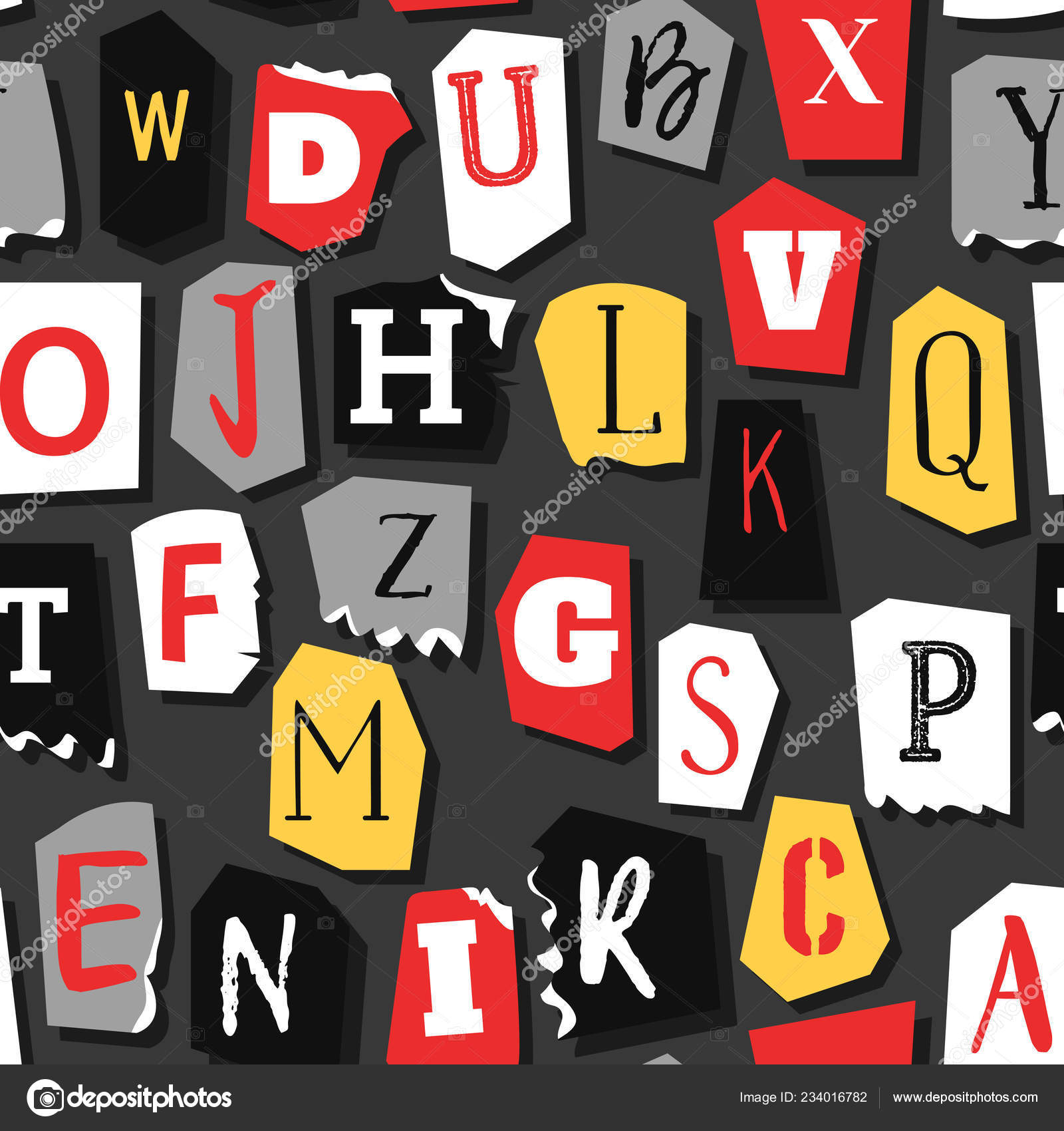 Colorful Newspaper Word Stop Hand Made Set Vector Letters