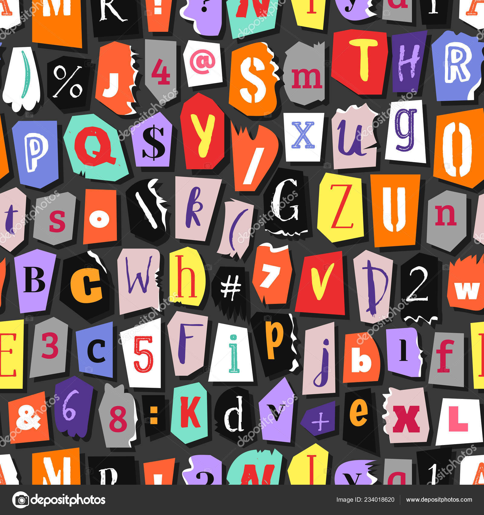 Colorful Newspaper Word Stop Hand Made Set Vector Letters Different
