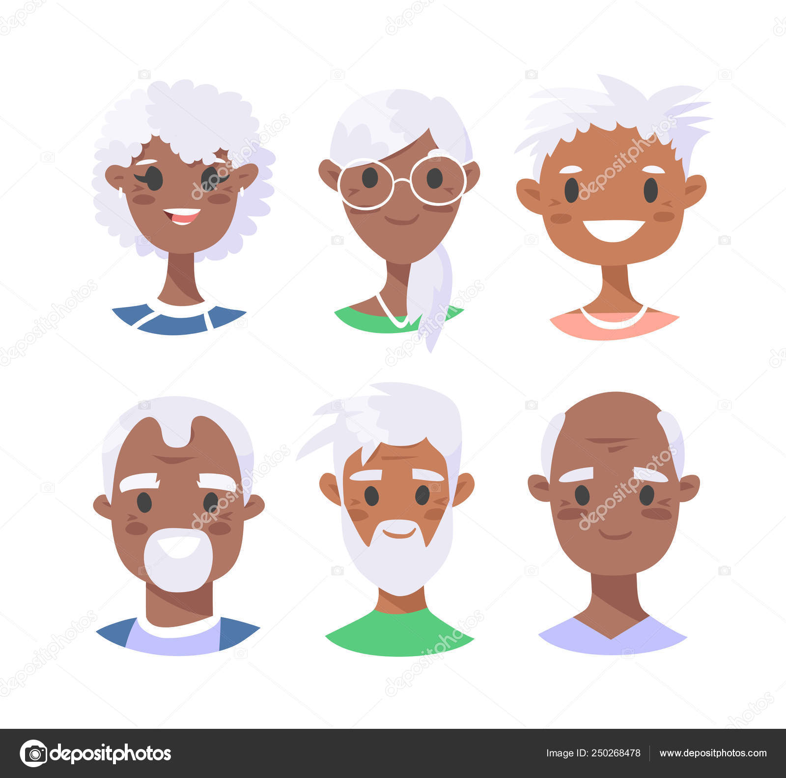 Set Of Black Male And Female Characters Cartoon Style African A