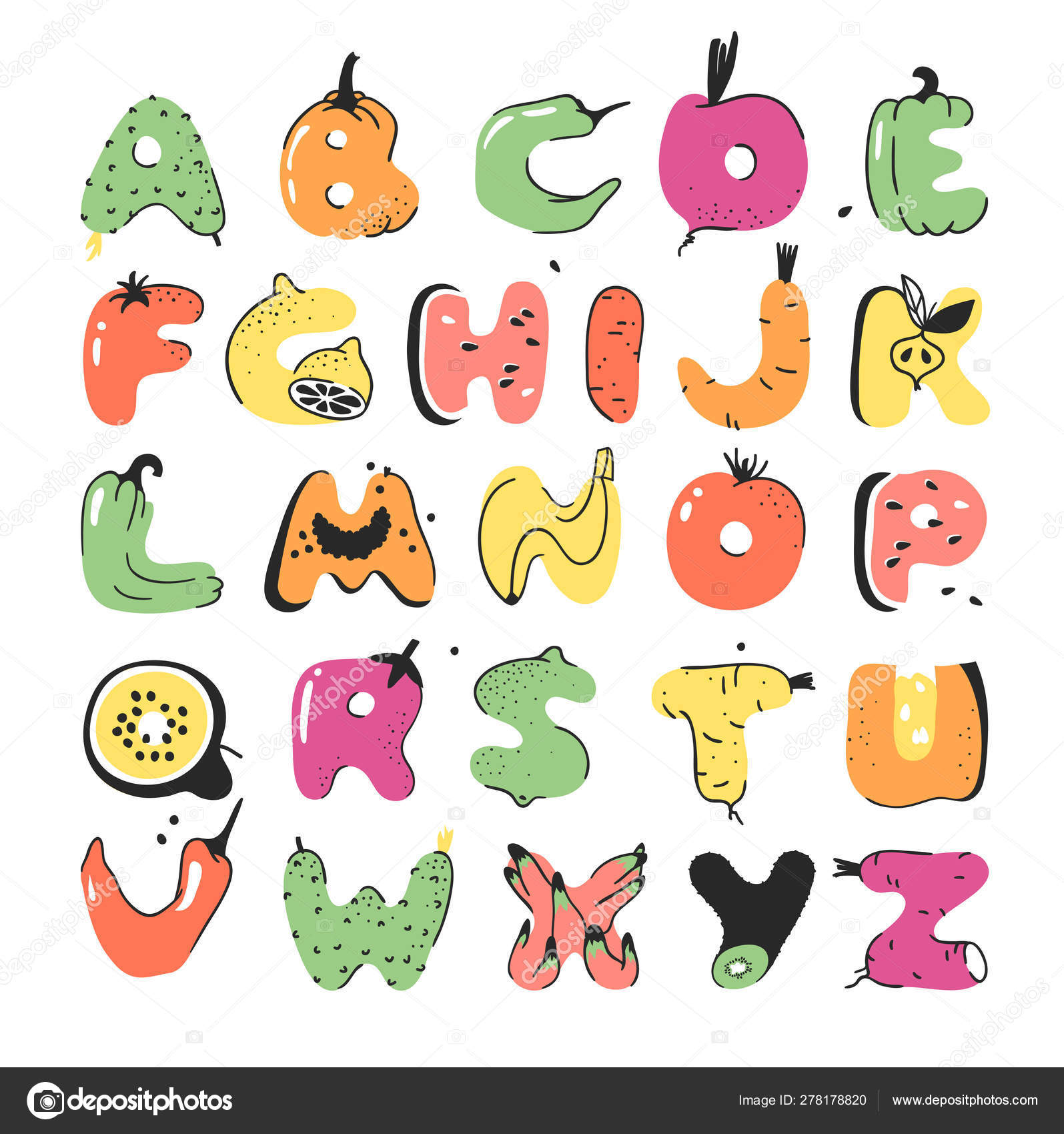 Cartoon Vector Illustration Vegetables And Fruits Abc Hand