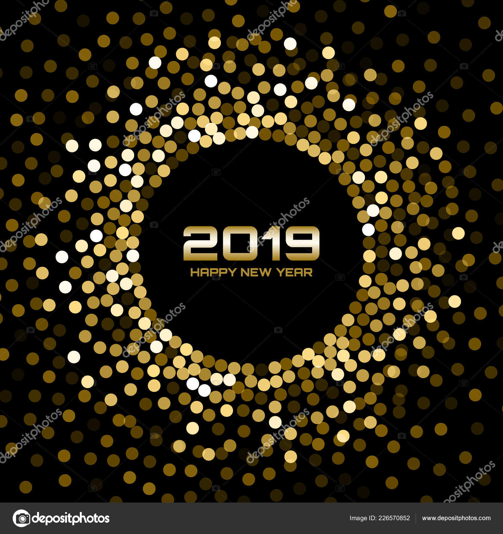 new year 2019 card background gold glitter paper confetti glistening golden disco lights
