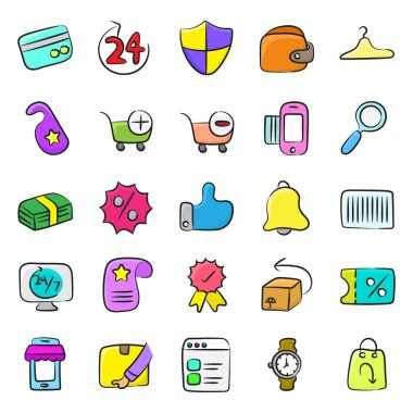 Pack of Ecommerce Doodle Icons icon