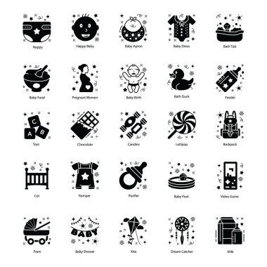 Pack Of Family Relations Solid Icons icon