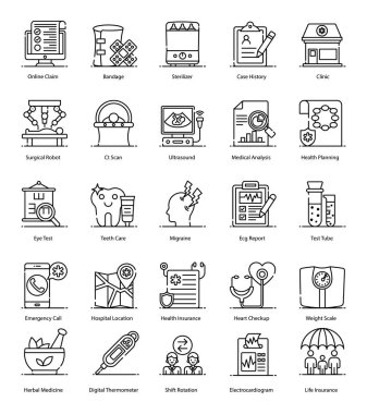 Here we bring medical and healthcare icons for your design project. This set has first aid and hospital related equipment with all detailing. Grab this set and enjoy designing healthcare, hospital, and medical projects. Editable stroke vectors pack. icon