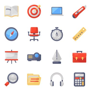 Education Accessories Icons in Modern Flat Style Pack icon