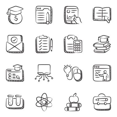 Pack of Online Education Doodle Icons icon