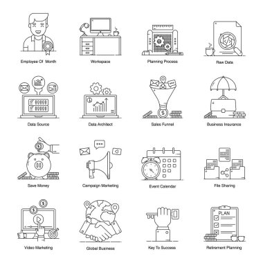 Corporate and Management Icons in Modern Flat Style Pack icon