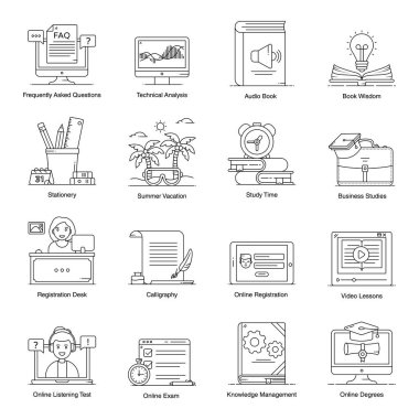 Pack of Education and Knowledge Flat Icons icon