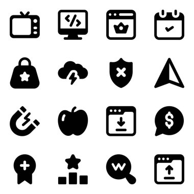 Pack of Editable Business and Web Glyph Icons icon