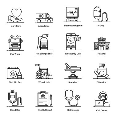 Emergency and Healthcare Icons in Flat Style Pack icon